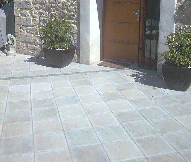 Tiling around garden patio: Mr Hicks